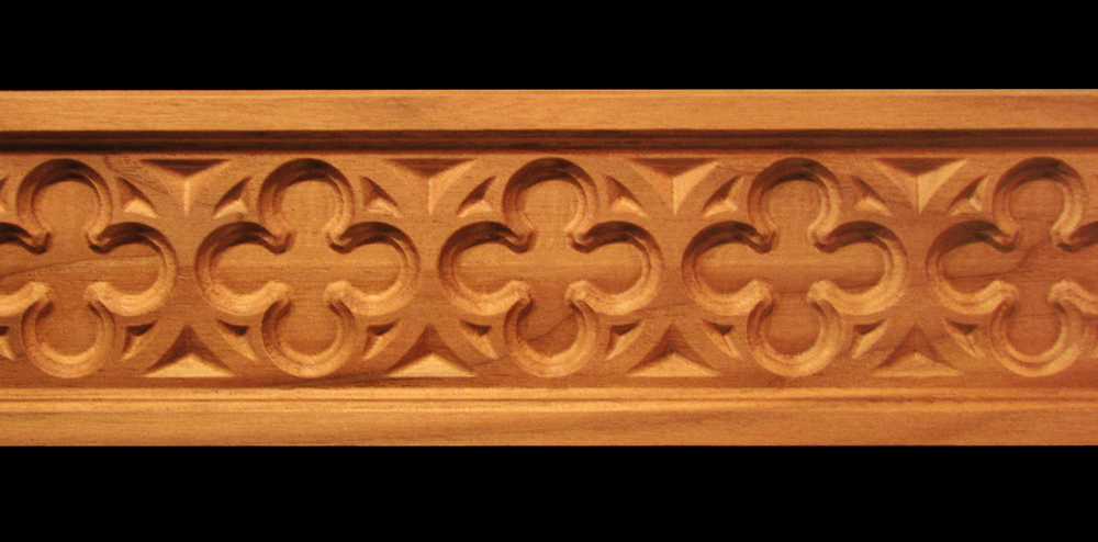 Frieze Gothic Rosette Decorative Carved Wood Moulding