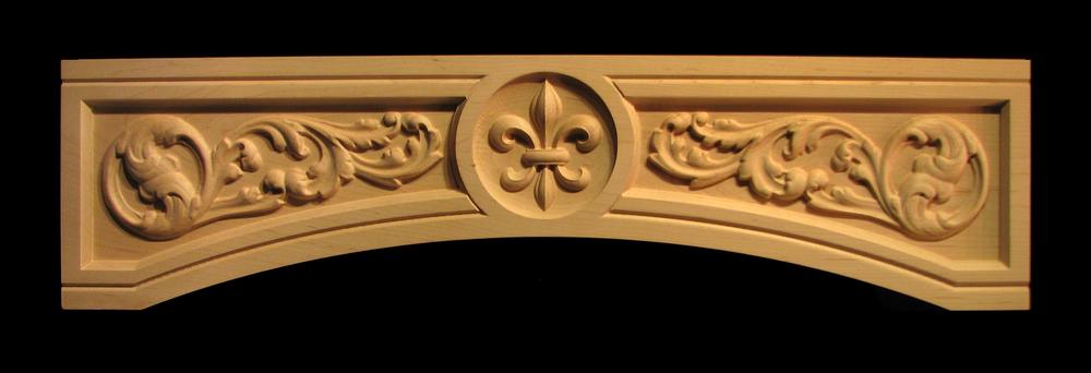 Range Hood Panel - Fleur de Lis with Arched Scrolls
