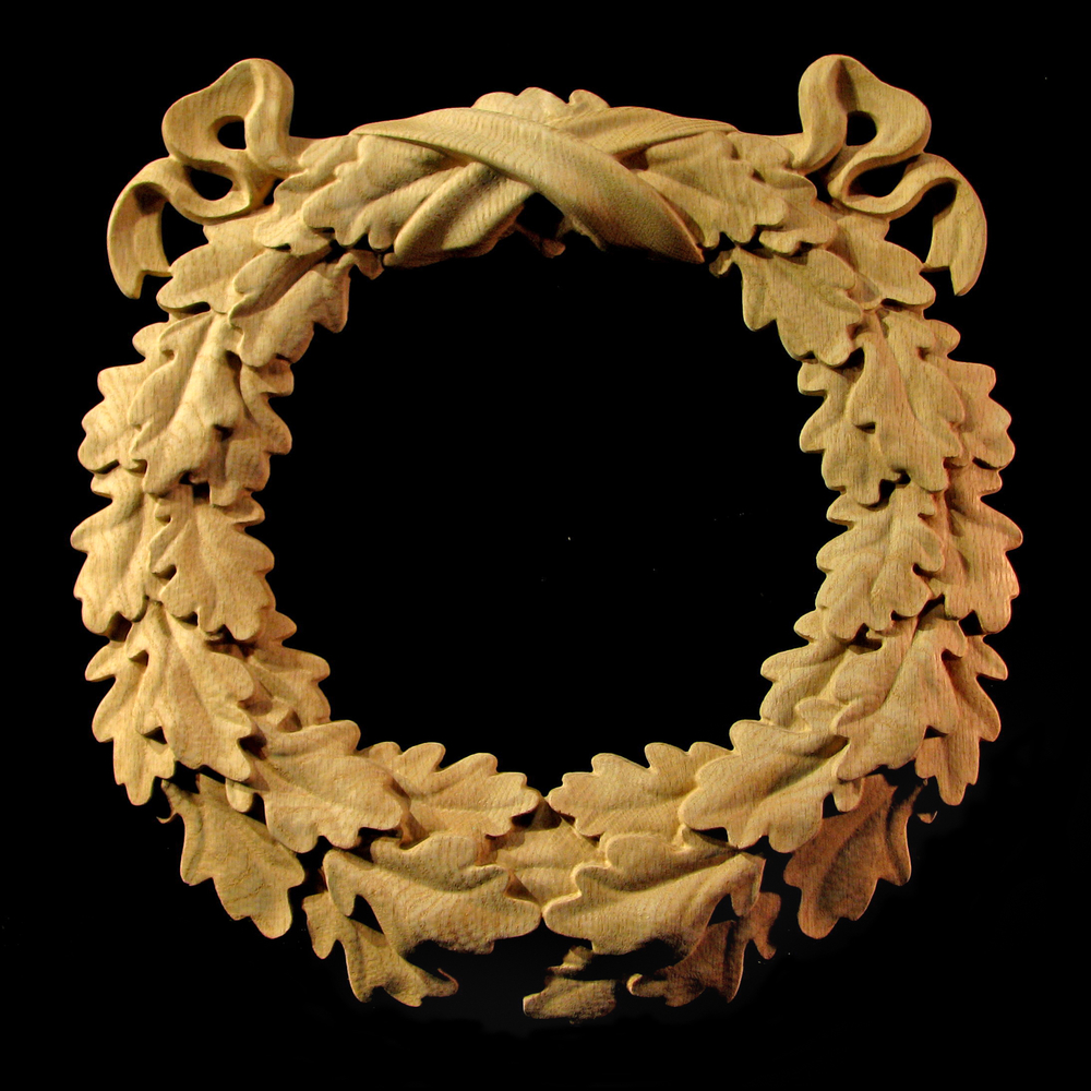 Carved Wood Medallion Oak Leaf Wreath Carved Wood