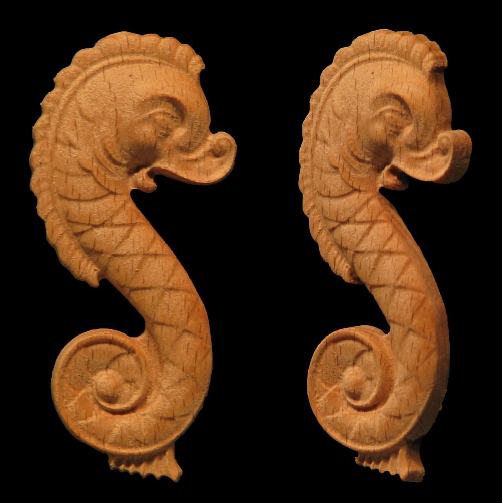 Old World Seahorse Onlay