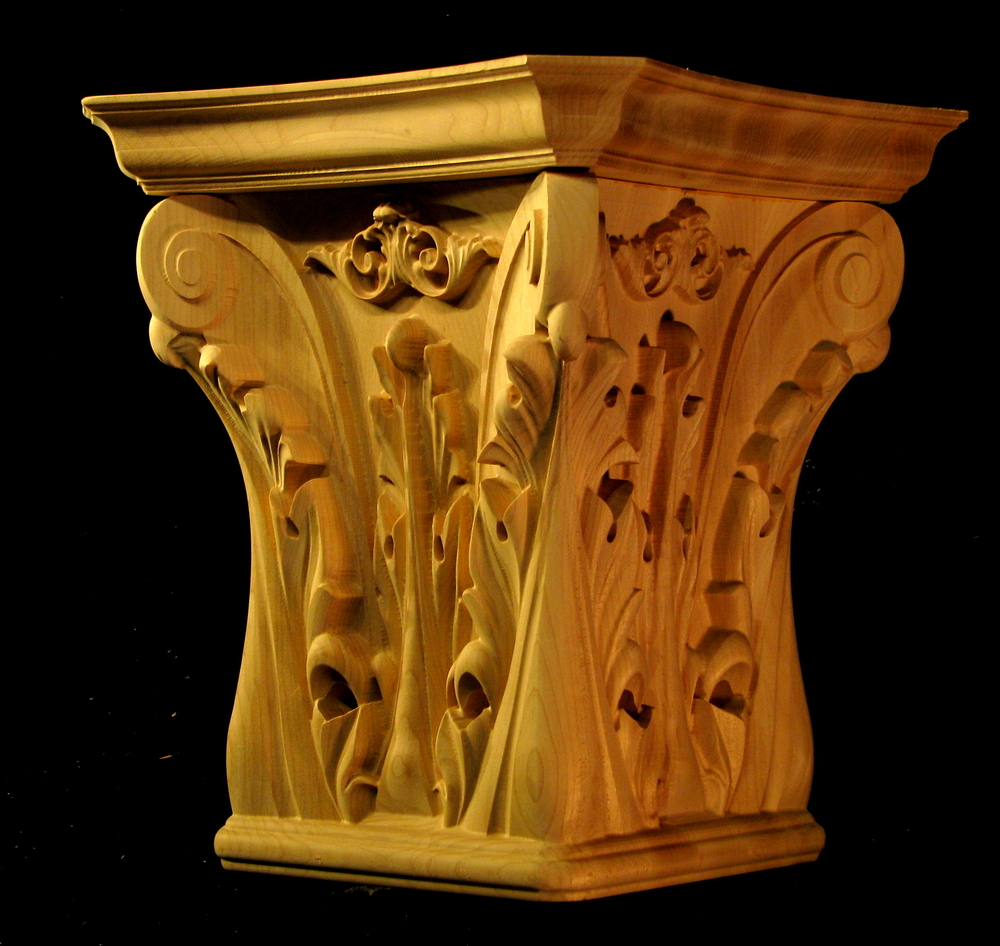 Large Acanthus Capital - 4 sided