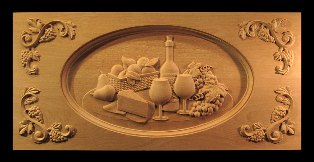 Carved Wine and Cheese Range Panel