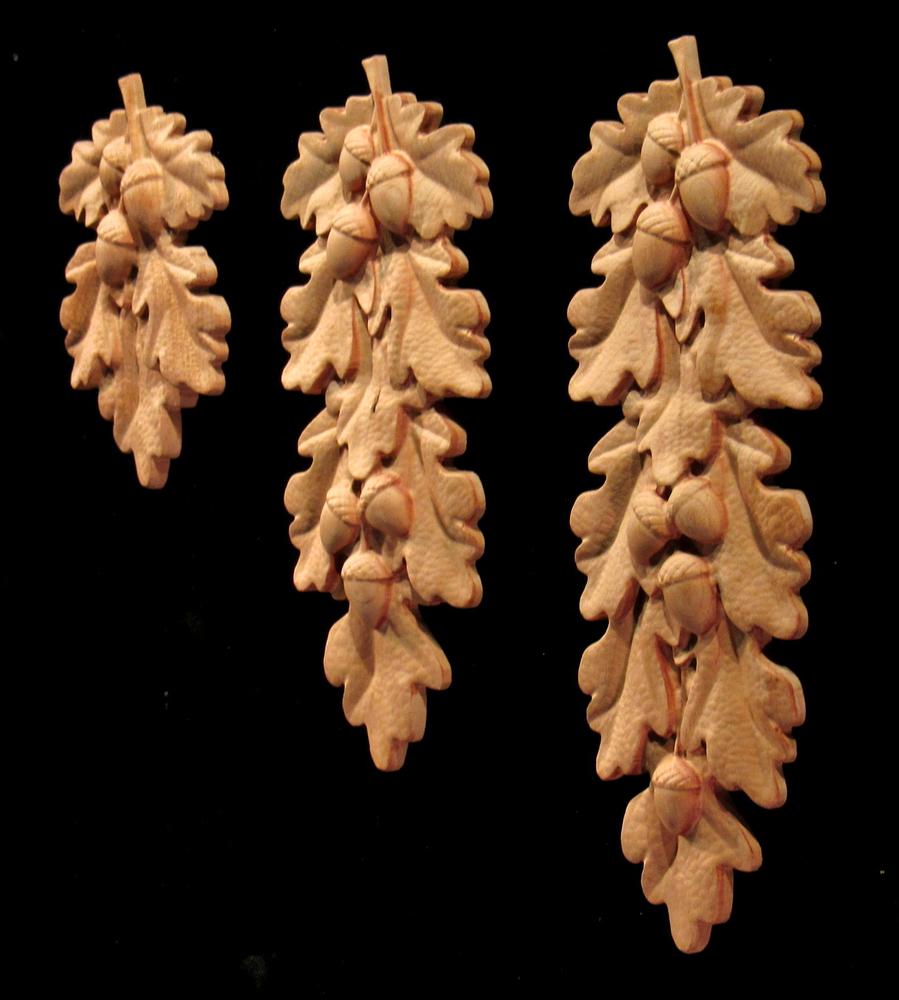 Onlay - Oak Leaves and Acorns Drop, Short, Med, Long