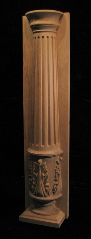 Carved Wood Column Pilaster Half Round Fluted Column