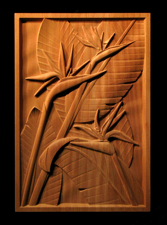 Bird Of Paradise Carved Panel
