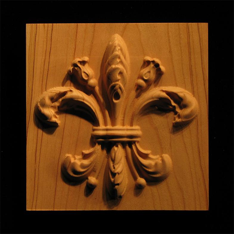 Plaque Carved Fleur De Lis 2 Carved Wood