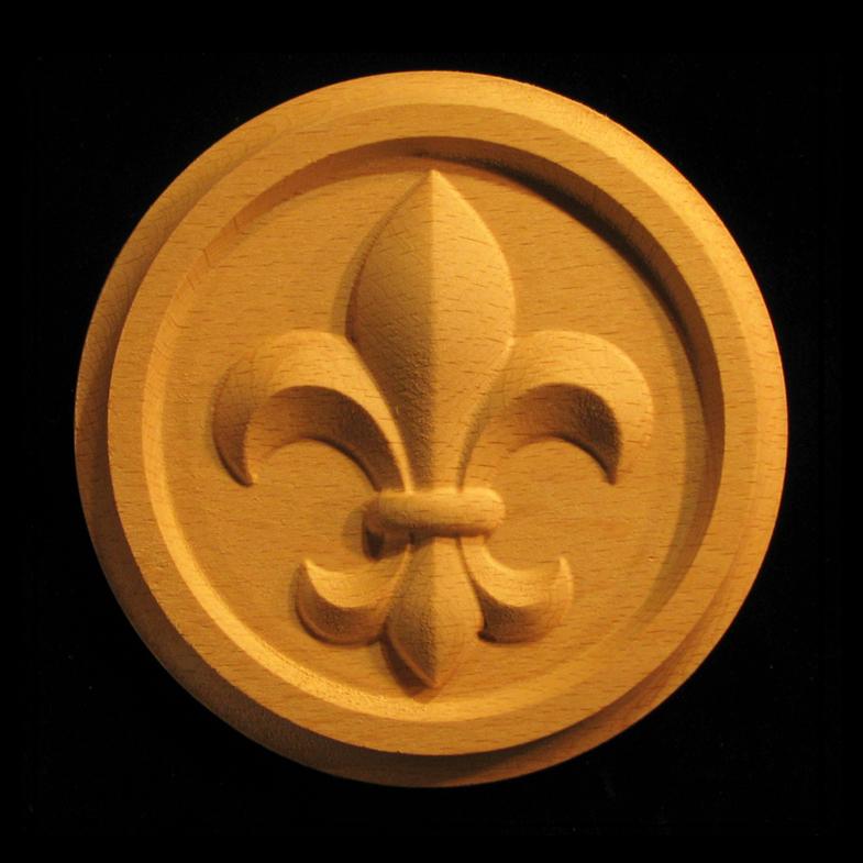 Rosette Carved Fleur De Lis Carved Wood