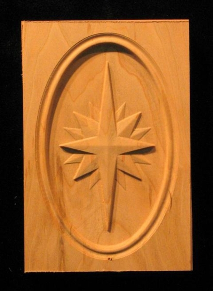 Block rose compass carved wood