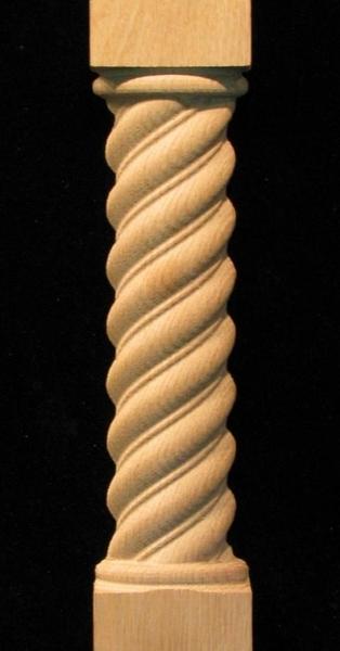 Pilaster Spiral Carved Wood