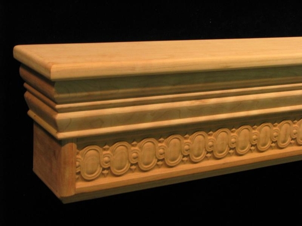 Wood Carved Mantel Shelf - Egg and Dart Full