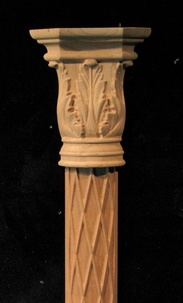Image Applique Pilaster - Acanthus Capital w Diamond Base