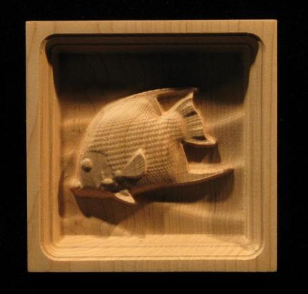 Block Angel Fish Carved Wood