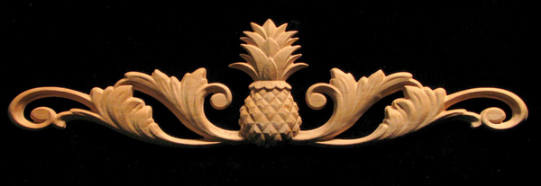 Wood Carved Onlay - Carved Classic Pineapple w Scrolls