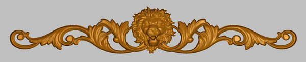 Wide Onlay - Carved Lion Head w Scrolls Accent