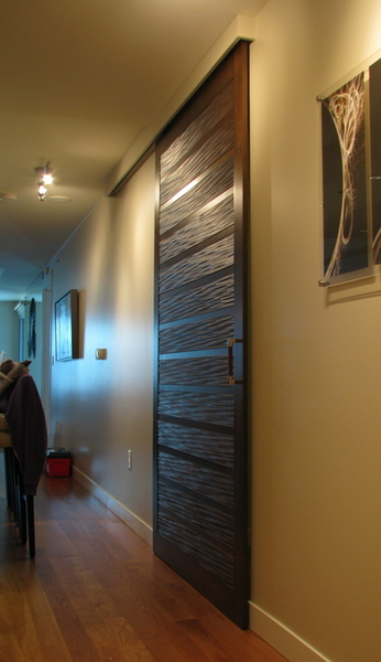 Sliding Barn Door Using Tg 3d Paneling Cabinetry And Doors