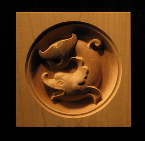 Wood corner block - Carved Dolphin Pair