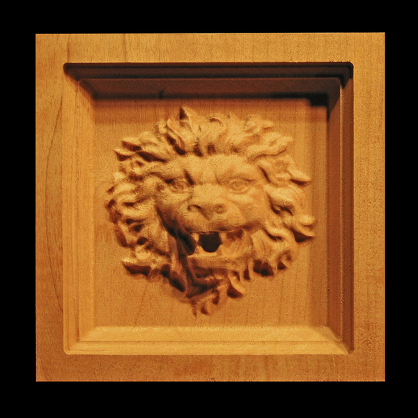 Wood corner block - Carved Lion Head