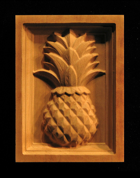 Block classic pineapple carved wood for Pineapple carving designs