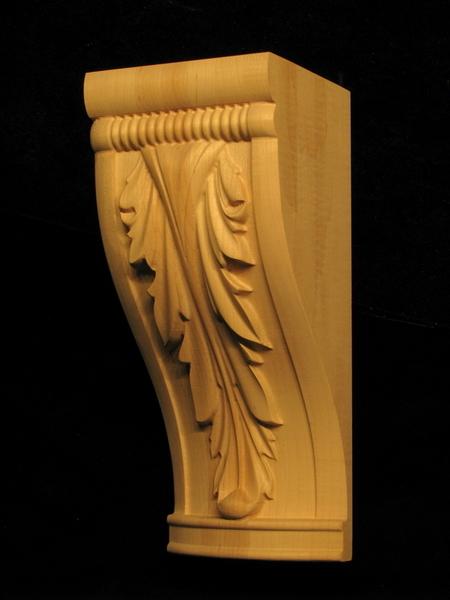 Corbel acanthus leaf carved wood