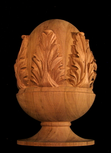 Wood Finial Classic Carved Pineapple