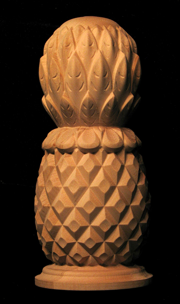 Finial classic carved pineapple wood