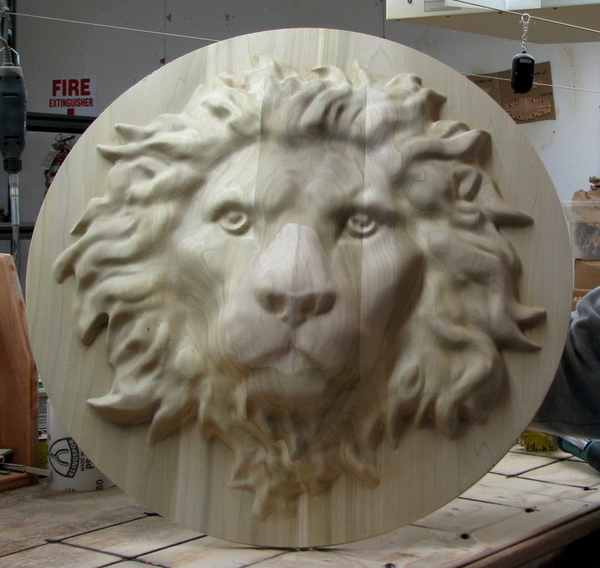 Large Lion Head carving | Whimsical Art, Medallions, & Client Projects