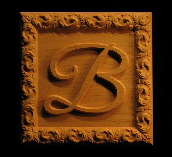 Image Carved Monogram with Border
