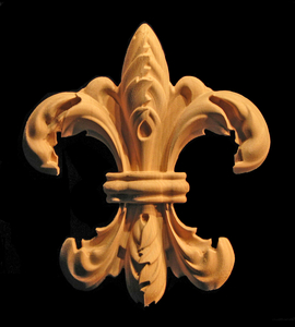 Wood Onlay - Carved Fleur de Lis #2