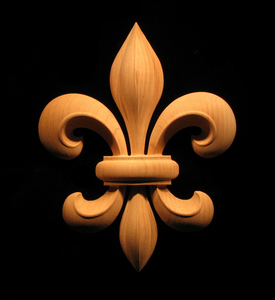 Wood Carved Onlay - Carved Fleur de Lis