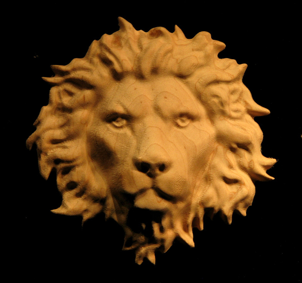 Image Regal Lion Head Carved Onlay