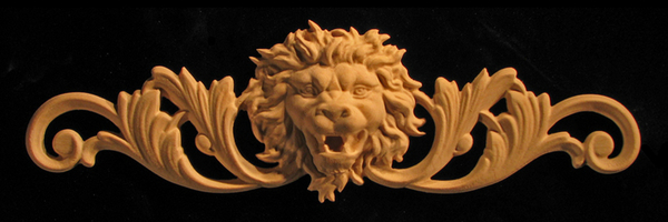 Carved Wood Onlay Applique - Roaring  Lion Head with Scrollwork