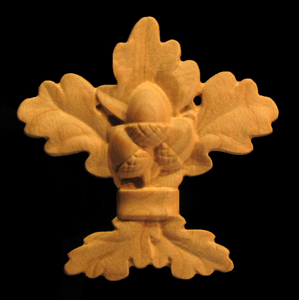 Onlay - Oak Leaves and Acorns with Ribbon Carved Wood