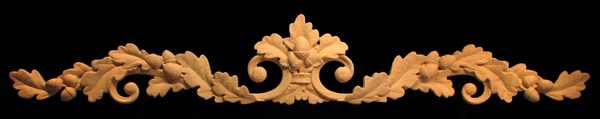 Onlay - Carved Oak Leaves with Acorns Scrollwork Carved Wood