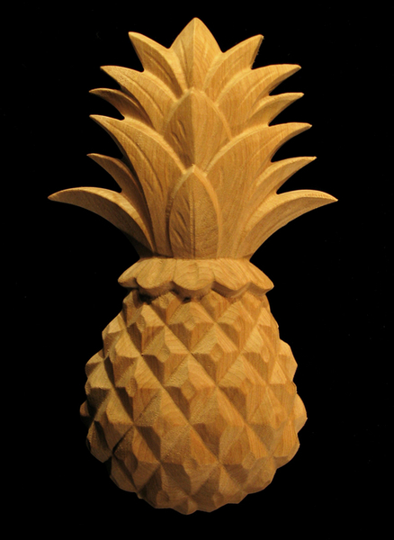 Carved Wood Onlay Applique - Carved Classic Pineapple
