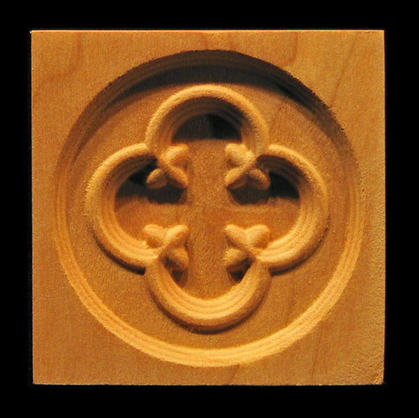 Block - Gothic Arch Circle carved wood