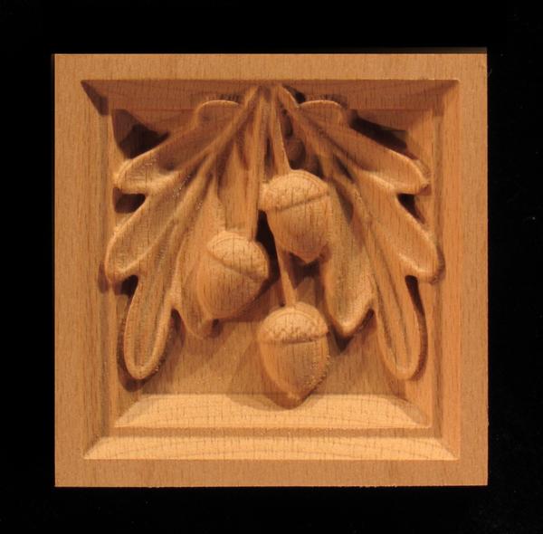 Image Corner Block - Oak Leaves & Acorns