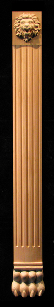 Pilaster - Roaring Lion Wood Carved