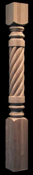 Image Column Post - Carved Spiral - Full or Half Round
