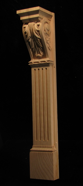 Image Pilaster - Large Acanthus Corbel w Fluted Body and Base