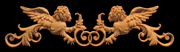 Onlay - Venetian Winged Lions Carved Wood