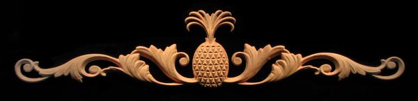 Image Onlay - Wide - Deco Pineapple w Scrolls