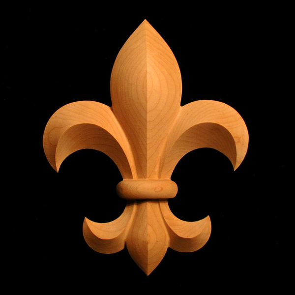 Onlay fleur de lis carved wood