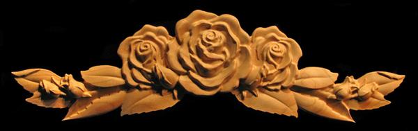 Onlay Carved Rose Flower Wide Carved Wood