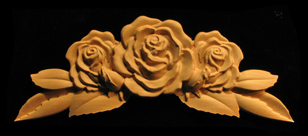 Onlay Rose With Leaves And Buds Carved Wood