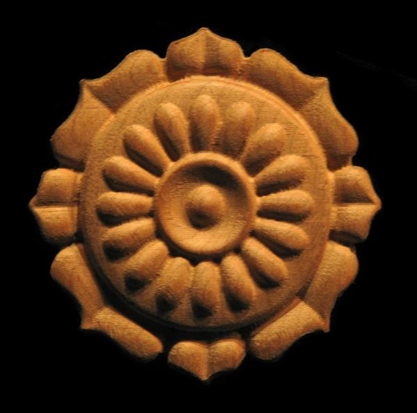 Rosette - Sunflower Carved Wood
