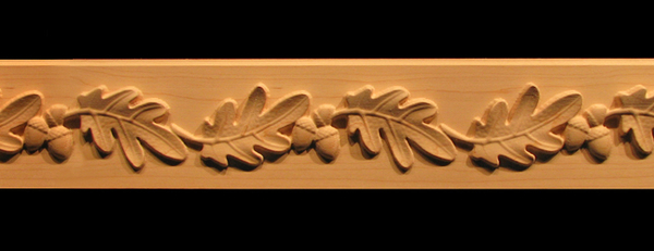 Frieze onlay oak leaves acorns decorative carved wood