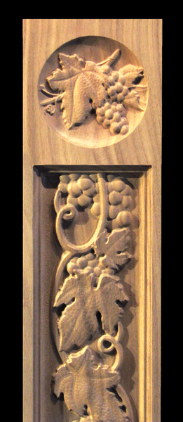 Image Pilaster - Tuscan Grapes and Vines with Rosette