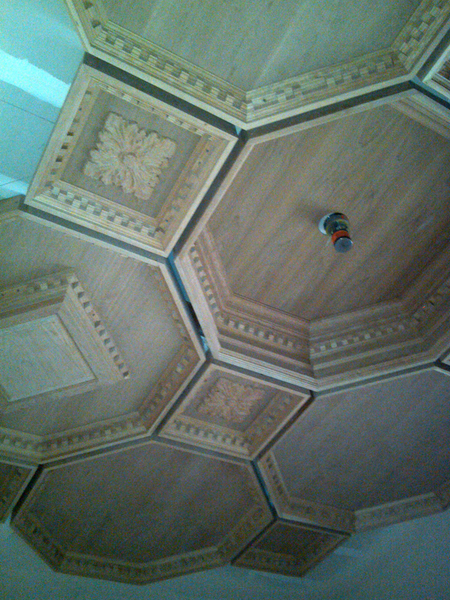 Image Coffered Ceiling Installation - Featuring Acanthus Four Leaf Onlay