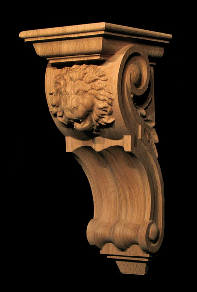 Corbel - Roaring Lion Carved Wood