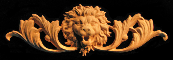 Onlay - Roaring Lion Head with Scrollwork Carved Wood